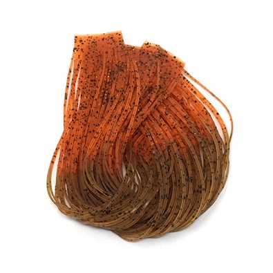 Hareline Hot Tipped Crazy Legs - Root Beer/Orange Tipped