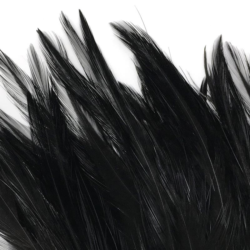Hareline Strung Chinese 5-7 Inch Saddle Hackle - Fiery Black