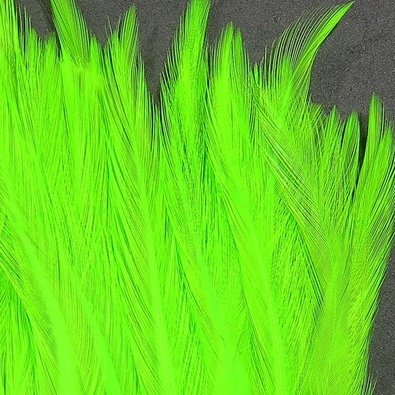 Hareline Strung Chinese 5-7 Inch Saddle Hackle - Chartreuse