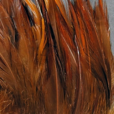 Hareline Strung Chinese 5-7 Inch Saddle Hackle - Fiery Brown