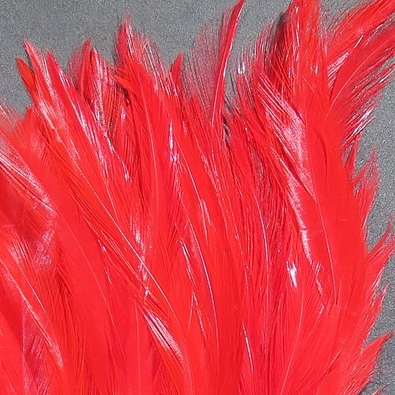 Hareline Strung Chinese 5-7 Inch Saddle Hackle - Red