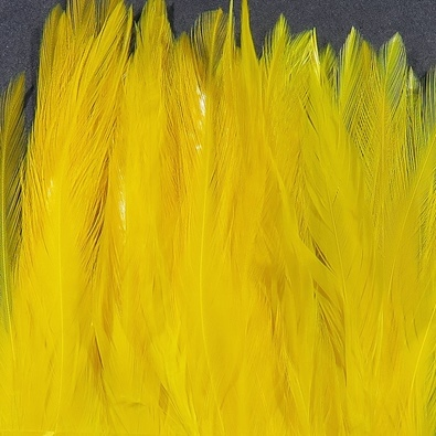 Hareline Strung Chinese 5-7 Inch Saddle Hackle - Yellow