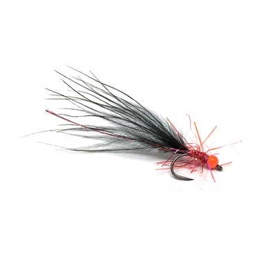 Competition Streamer - Bead Orange - Brill Red - Marabou Black