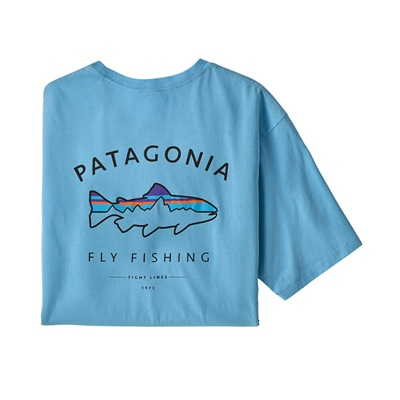 Patagonia Men's Framed Fitz Roy Trout Organic T-shirt - LAGB Lago Blue