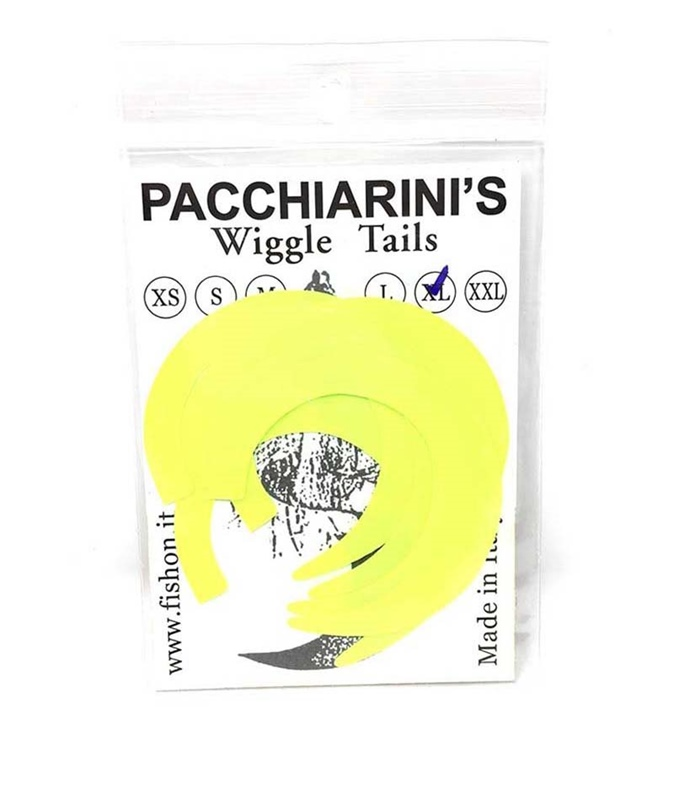Pacchiarini's Wiggle Tails XL - Yellow Fluo - 6 pcs.