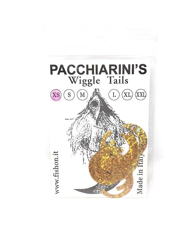 Pacchiarini's Wiggle Tails XS - Holographic Gold - 8 pcs.