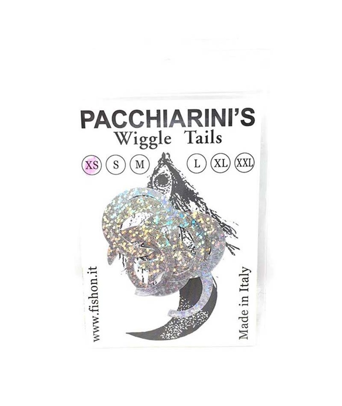 Pacchiarini's Wiggle Tails XS - Holographic Silver - 8 pcs.